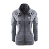 Ladies Sport Wick Stretch Full Zip Charcoal Jacket-Susan G. Komen