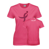 Ladies Fuchsia T Shirt-Ribbon Hot Pink Glitter