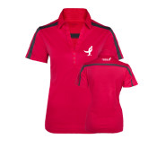Ladies Raspberry/Charcoal Performance Color Block Polo-Ribbon