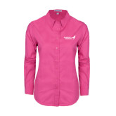Ladies Tropical Pink Long Sleeve Twill Shirt-Susan G. Komen