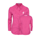 Ladies Tropical Pink Long Sleeve Twill Shirt-Ribbon