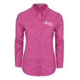 Ladies Tropical Pink Long Sleeve Twill Shirt-Susan G. Komen Race for the Cure