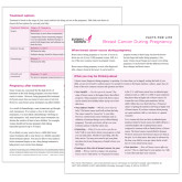 Facts for Life  Breast Cancer During Pregnancy Single Sheet-