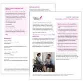 Facts for Life  Women with Disabilities Single Sheet-