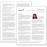 Facts for Life When the Diagnosis is Cancer An Overview Single Sheet-