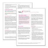 Facts for Life Radiation Therapy and Side Effects Single Sheet-