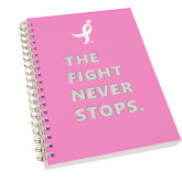 Clear 7 x 10 Spiral Journal Notebook-The Fight Never Stops