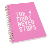 Clear 7 x 10 Spiral Journal Notebook-The Fight Never Stops Distressed