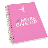 Clear 7 x 10 Spiral Journal Notebook-We Will Never Give Up