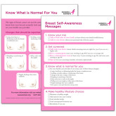 Breast Self Awareness Card Large Print in English Single Card-
