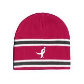 Pink/Charcoal/White Striped Knit Beanie-Ribbon