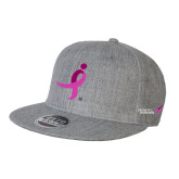 Heather Grey Wool Blend Flat Bill Snapback Hat-Ribbon
