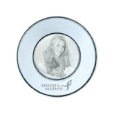 Silver Two Tone Small Round Photo Frame-Susan G. Komen