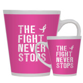 Full Color Latte Mug 12oz-The Fight Never Stops Distressed