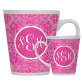 12oz Ceramic Latte Mug-Monogram Damask Pink Pattern