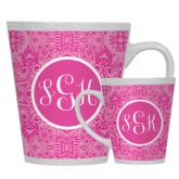 12oz Ceramic Latte Mug-Monogram Damask Pink Pattern