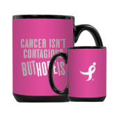 Full Color Black Mug 15oz-Cancer Isnt Contagious