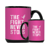 Full Color Black Mug 15oz-The Fight Never Stops Distressed