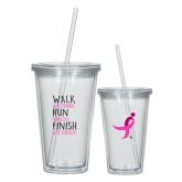 Madison Double Wall Clear Tumbler w/Straw 16oz-Walk Run Finish