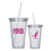 Madison Double Wall Clear Tumbler w/Straw 16oz-Everyone Deserves A Lifetime - Splatter