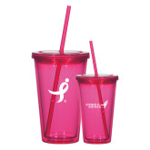 Madison Double Wall Pink Tumbler w/Straw 16oz-Ribbon
