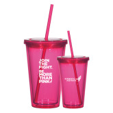 Madison Double Wall Pink Tumbler w/Straw 16oz-Join The Fight.