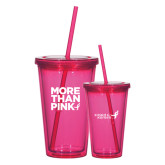 Madison Double Wall Pink Tumbler w/Straw 16oz-More Than Pink