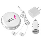 3 in 1 White Audio Travel Kit-Susan G. Komen