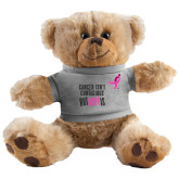 Plush Big Paw 8 1/2 inch Brown Bear w/Grey Shirt-Cancer Isnt Contagious