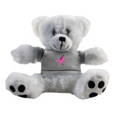 Plush Big Paw 8 1/2 inch White Bear w/Grey Shirt-Ribbon