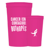 22 oz Pink Transparent Stadium Cup-Cancer Isnt Contagious