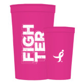 22 oz Pink Transparent Stadium Cup-Fighter