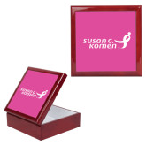 Red Mahogany Accessory Box With 6 x 6 Tile-Susan G. Komen