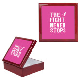Red Mahogany Accessory Box With 6 x 6 Tile-The Fight Never Stops Distressed