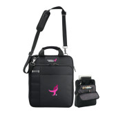Kenneth Cole Black Vertical Checkpoint Friendly Messenger-Ribbon