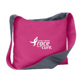 Cotton Canvas Tropical Pink/Charcoal Sling Bag-Susan G. Komen Race for the Cure