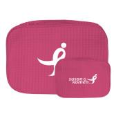 Large Hot Pink Waffle Cosmetic Bag-Ribbon
