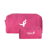 Small Hot Pink Waffle Cosmetic Bag-Ribbon