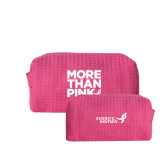Small Hot Pink Waffle Cosmetic Bag-More Than Pink