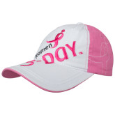 Ladies Pink/White Unstructured Low Profile Hat, 3 Day-