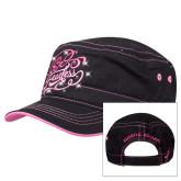 Ladies Black Cadet Running Hat w/ Stud Design, Be Fearless-