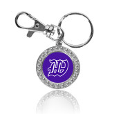 Crystal Studded Round Key Chain-W