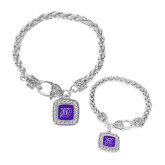 Silver Braided Rope Bracelet With Crystal Studded Square Pendant-W