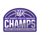 Medium Decal-Great Midwest Athletic Conference Champs - 2017 Mens Basketball Half Ball, 8 inches wide
