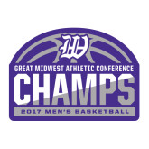 Large Decal-Great Midwest Athletic Conference Champs - 2017 Mens Basketball Half Ball, 12 inches wide