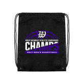 Black Drawstring Backpack-Great Midwest Athletic Conference Champs - 2017 Mens Basketball Half Ball