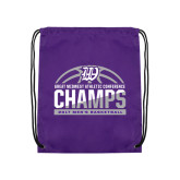Purple Drawstring Backpack-Great Midwest Athletic Conference Champs - 2017 Mens Basketball Half Ball