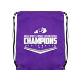 Purple Drawstring Backpack-GMAC Softball Champions 2017 Plate
