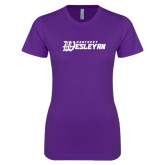 Next Level Ladies SoftStyle Junior Fitted Purple Tee-Kentucky Wesleyan
