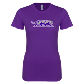 Next Level Ladies SoftStyle Junior Fitted Purple Tee-Panther